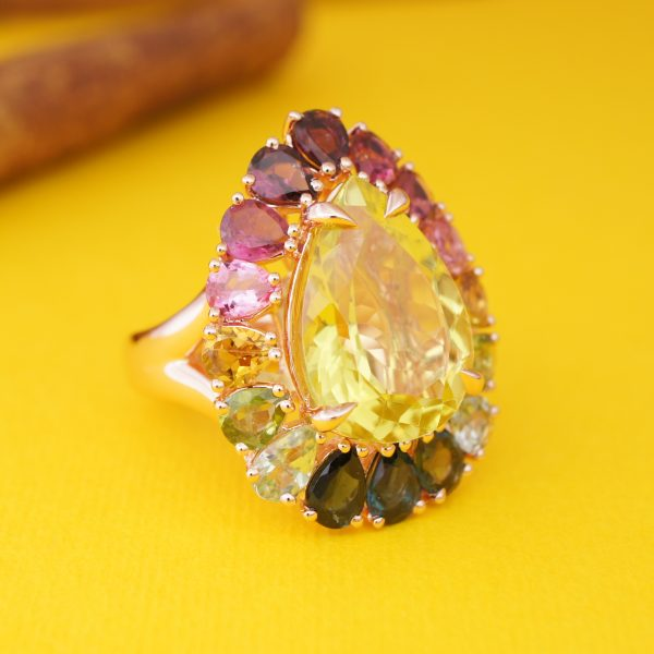 12x16mm Pear Lemon Quartz with Pear Faceted Tourmaline 18K Rose Gold Plated Silver Ring