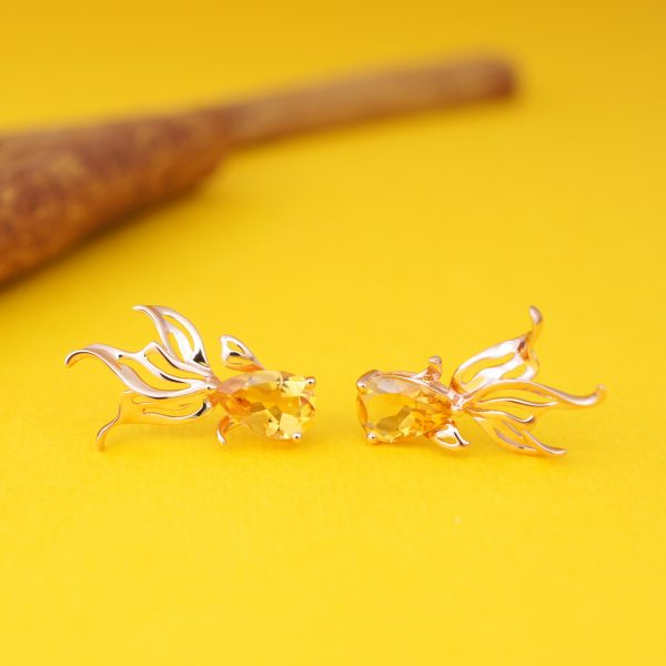 GOLD-FISH-Citrine-18K-Rose-Gold-Plated-Silver-Earring-Stud
