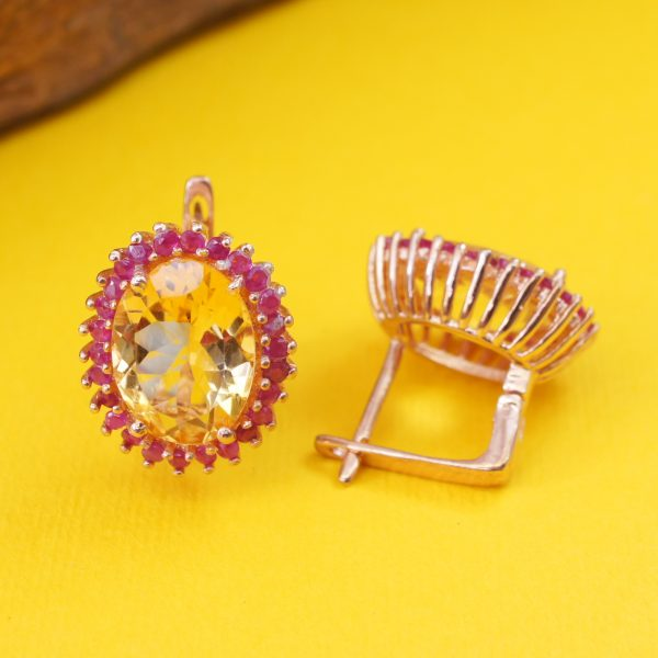 YELLOW SUMMER – Citrine w/ Ruby 18K Rose Gold Plated Silver Earring
